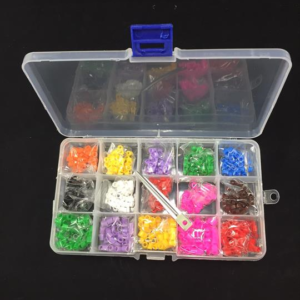Caja 750 anillas abiertas DIFERENTES COLORES con aplicador para identificación genética