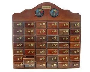 MH42 - Mueble de madera artesanal con 42 cajones - termómetro e higrómetro