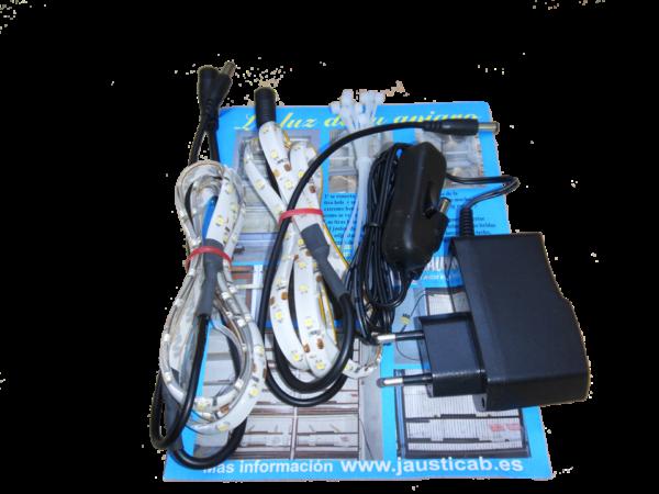 Set 2 tiras LEDs de 1 metro en zig zag con adaptador de corriente para jaulones de cría