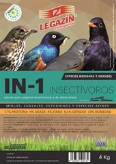 PIENSO LEGAZIN INSECTIVORO DIETA MIXTA 800 GR Y 4 KG. Aves Medianas y grandes IN1