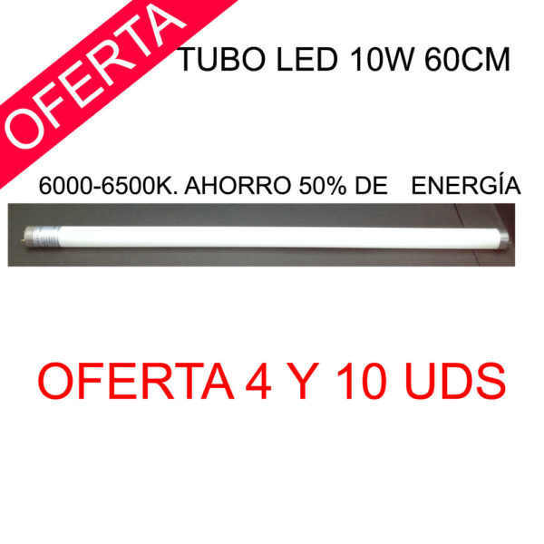 Tubo led 10w 60cm. 6000-6500K. Ahorro 50% de energía