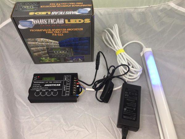 Conjunto Programador-Regleta led 120cm.y Adaptador 12V. para iluminación de su aviario. Con luz efecto luna.
