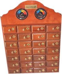 MH28 - Mueble de madera artesanal con 28 cajones - termómetro e higrómetro