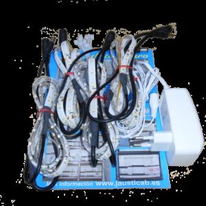 Set 4 tiras LEDs de 1 metro en zig zag y adaptador de corriente para jaulones de cría
