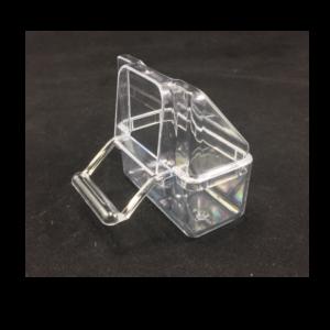 CP2-Comedero exterior transparente con tapa y posadero. OFERTA 4-10 UDS.